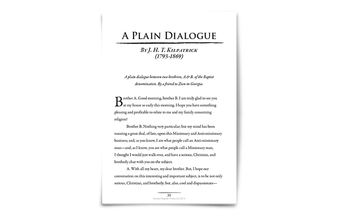 A Plain Dialogue by J. H. T. Kilpatrick